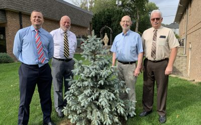 Tree Dedication at St. Mary's Catholic Church in Honor of Pat Gross's 56 Years of Service